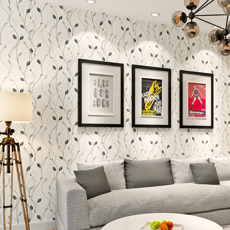 ФОТО Hanmero 3d Embossed floral leaf non woven wall paper black white pink wallpapers for living room bedding room papel de parede