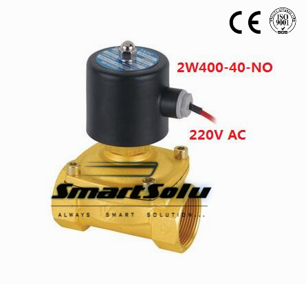 Free Shipping 2PCS 1.5 Electric Solenoid Valve Water Air N/O 220V AC Normally Open Type 2W400-40-NO free shipping 2pcs 1 1 2 free shipping 2pcs ac110v normally open solenoid valve 2 way brass nbr air oil 2w400 40 no