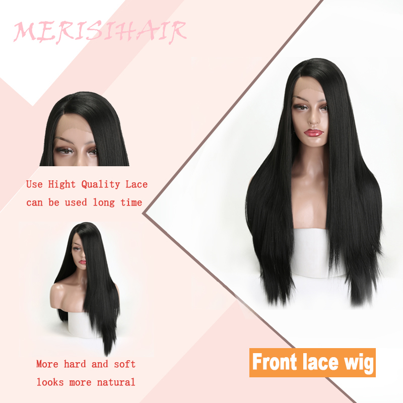 MERISI HAIR Synthetic Lace Front Wigs For Women Black Long Straight Blonde  Wig Pink Green 4 Colors Available Heat Resistant  25624a425ea1