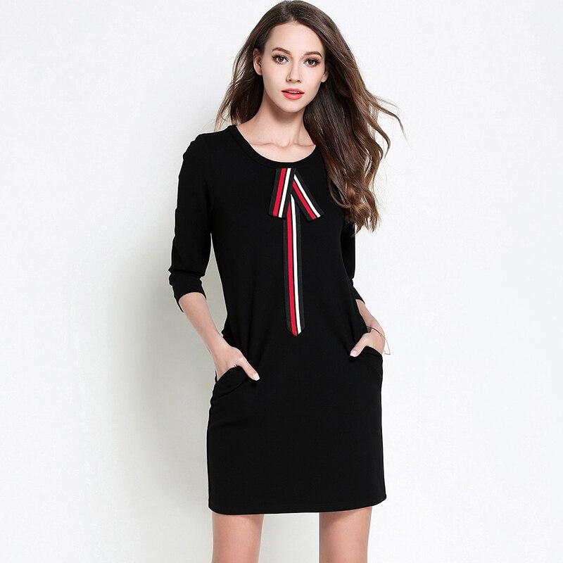 2017 New Autumn font b Women b font Cotton Plus Size Dresses Three quarter Sleeve Black