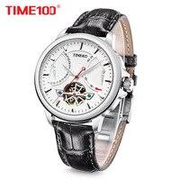 новый Time100 Мужские часы Автоматические Механические Часы Военно морского флота Часы ажурные Наручные Часы Для Мужчины