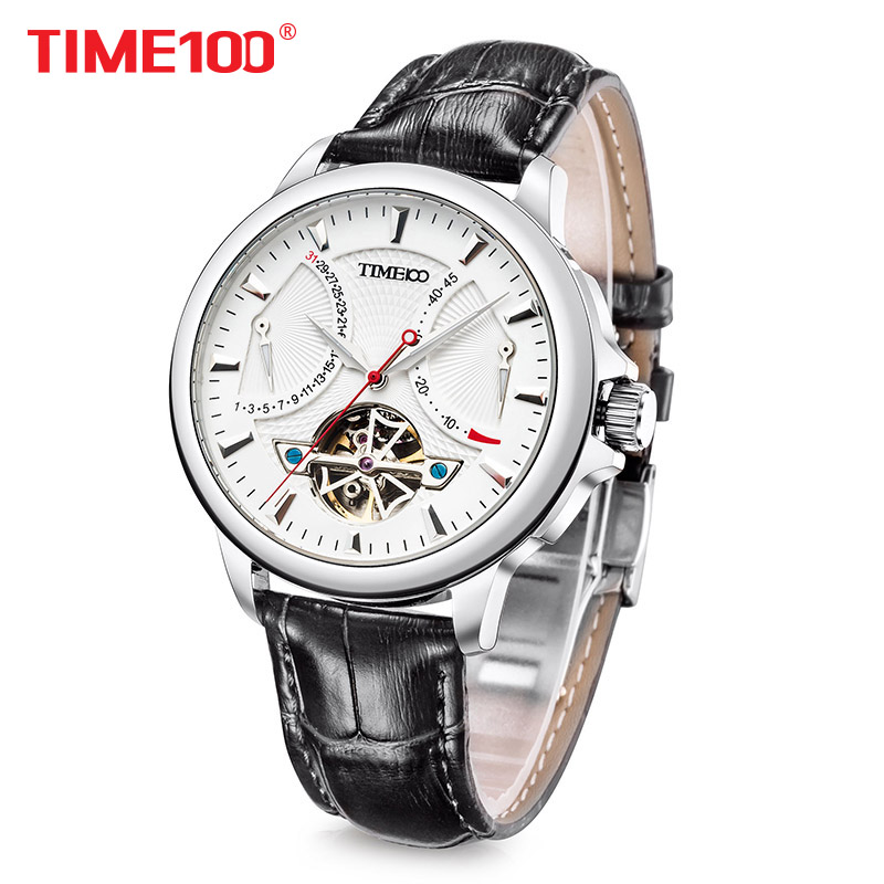Time100 Men Tourbillon style Automatic Mechanical Watches Navy Military Watch Skeleton Wrist Watches For Men Relogio masculino unique smooth case pocket watch mechanical automatic watches with pendant chain necklace men women gift relogio de bolso