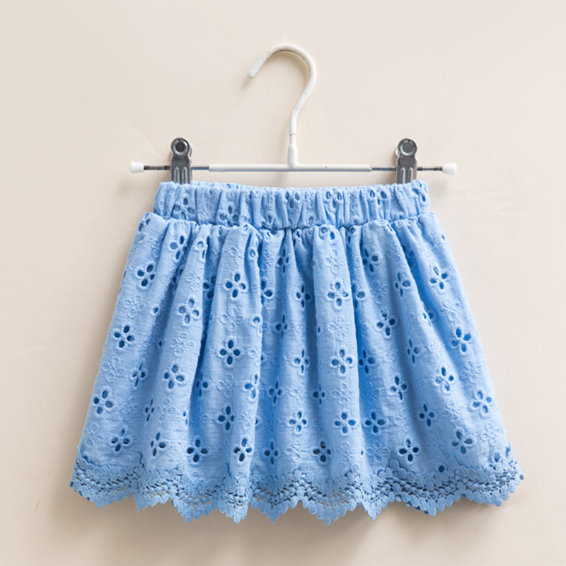 Baby Girls Summer Solid Color Embroidery hollow flowers lace Skirt  Kid Clothes Children Casual Clothing