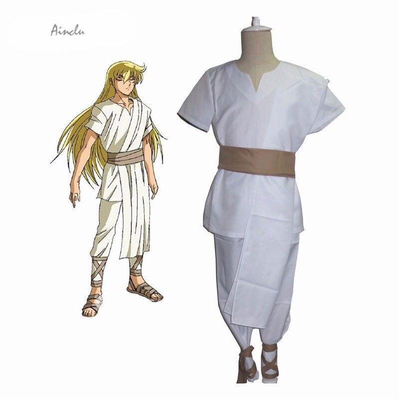 Ainclu New Saint Seiya Soul of Gold Gold Saints Virgo Shaka White Uniform Anime Adult Kid Halloween Cosplay Costume