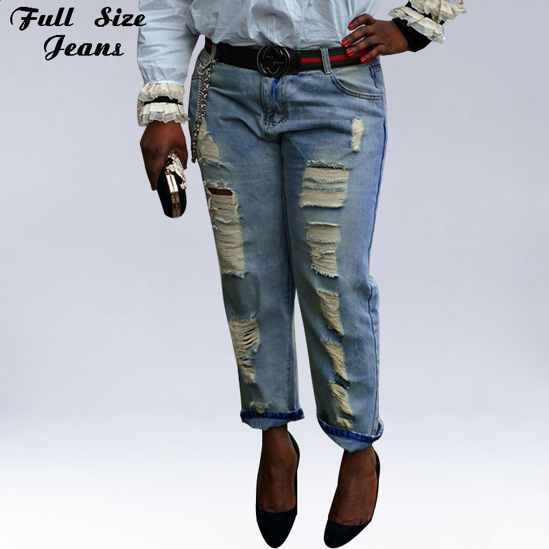 Plus Size Harem Jeans For Ladies 26 54 6XL 7XL 4XL Boyfriend Loose Ripped Jeans Summer Fashion Loose Ripped Denim Jeans Woman цены онлайн