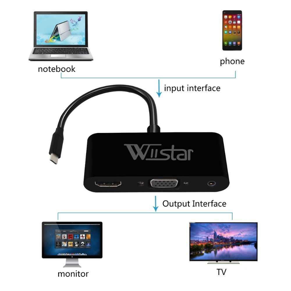 5 Buah Usb C 3.1 untuk HDMI VGA Audio Converter Tipe C untuk HDMI VGA Adapter 3 In 1 Usbc hub Menggunakan untuk TYPE C Laptop Ponsel