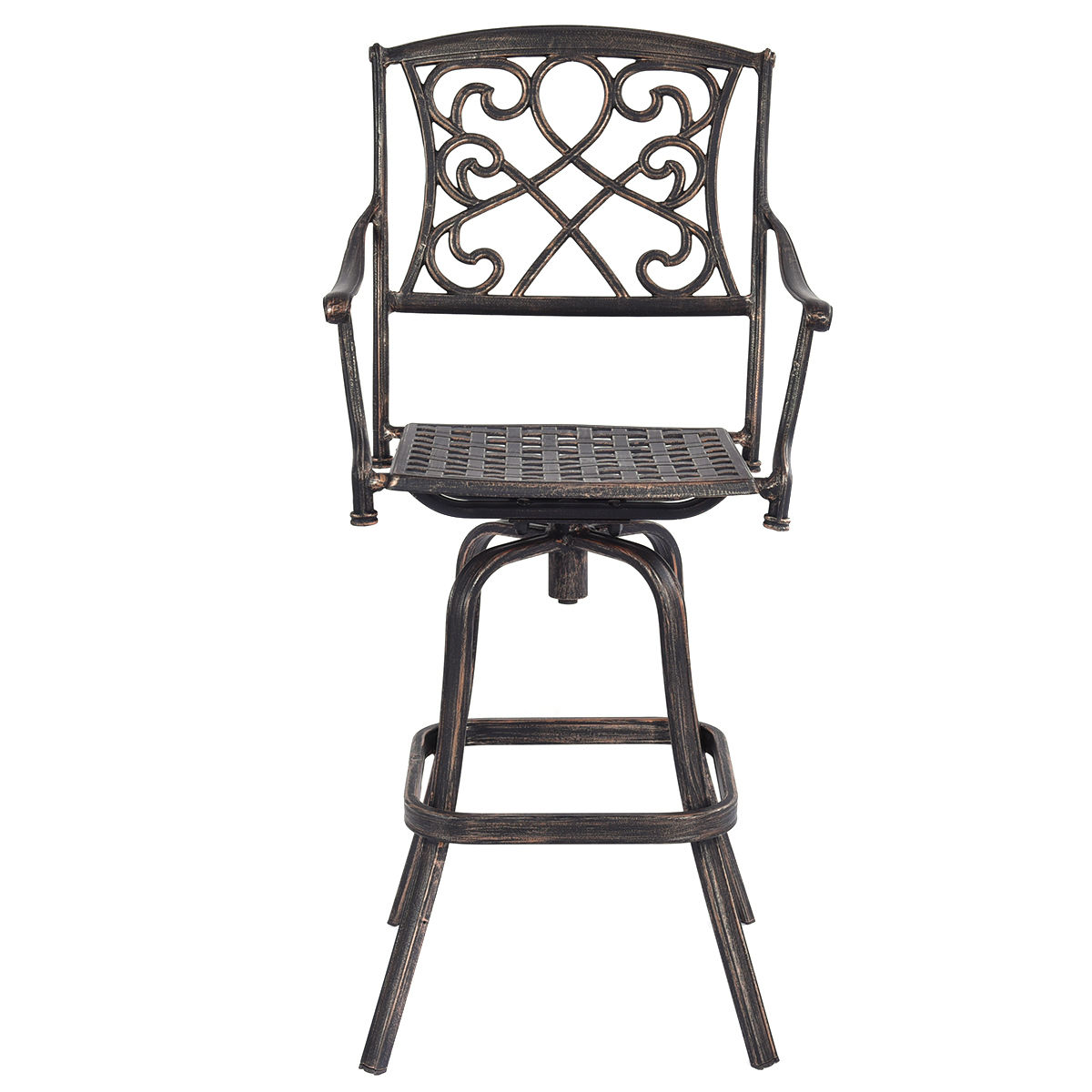 Black Cast Aluminum Bar Stools Outdoor Counter Height