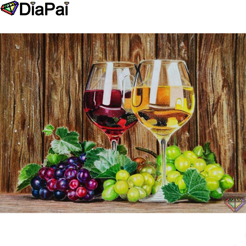 "DIAPAI 5D DIY Diamond Painting 100% Full Square/Round Drill ""Wine glass"" Diamond Embroidery Cross Stitch 3D Decor A22809(China)"