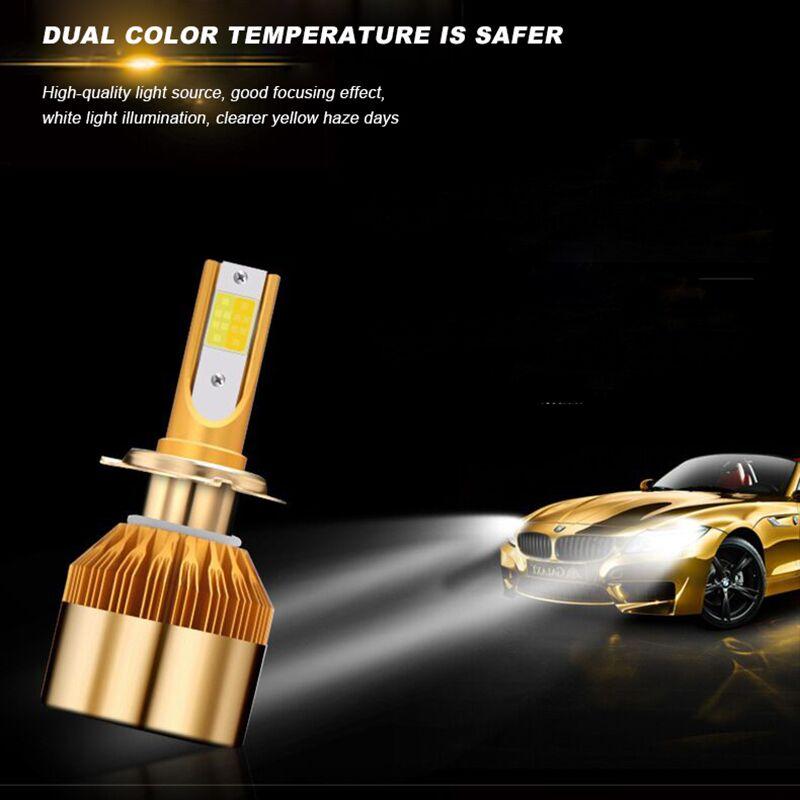 2 шт. фар автомобиля H4 светодиодный H7 светодиодный лампы 3000 К 6000 К H1 <font><b>H3</b></font> H8 H11 9005 HB3 9006 HB4 880 881 H27 светодиодный двойной Цвет цвет: желтый, белый свет