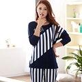 Mujer pijamas nueva Primavera y Otoño largo de la manga más el tamaño M-3XL de algodón Sueltos Ocio mujeres pijamas homewear Del Equipamiento traje