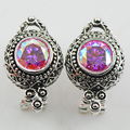 New Rose Rainbow Simulated Topaz Woman 925 Sterling Silver Crystal Earrings TE518