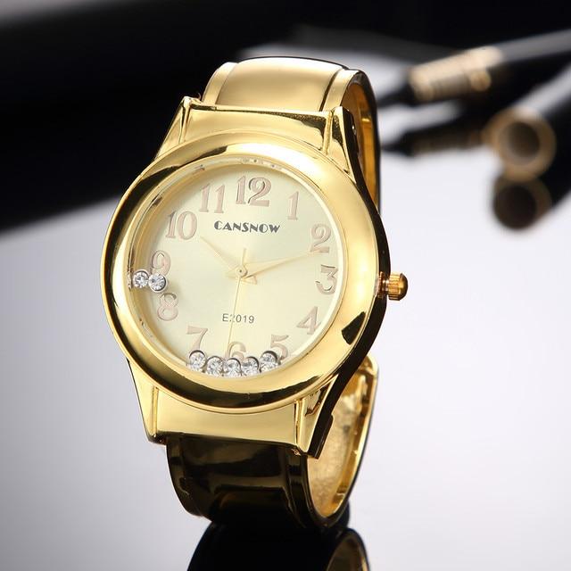 Watch Women 2018 New Stylish Crystal Bracelet Watches Lady Dress Wristwatch Girls Silver Gold Clock Saats zegarek damski
