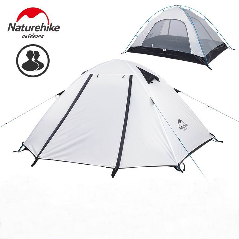 Naturehike Authentic 2 3 4 Person Vattentät Embossing Camping Tält Bergsklättring Backpacking Outdoor Tent With Mat UPF50