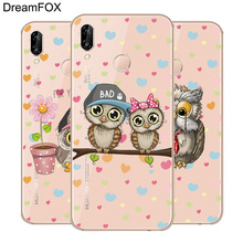 DREAMFOX L574 Cute Owl Soft TPU Silicone  Case Cover For Huawei Honor 6A 6C 7X 9 10 P20 Lite Pro P Smart 2019