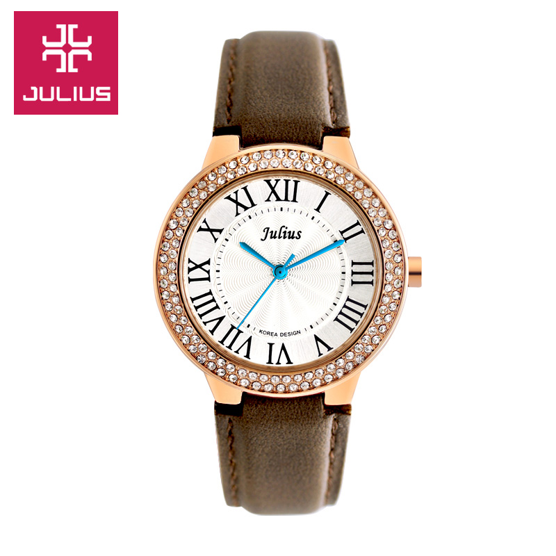 Julius Lady Women s Wrist Watch Quartz Hours Best Fashion Dress Korea Bracelet Leather Rome Rhinestone