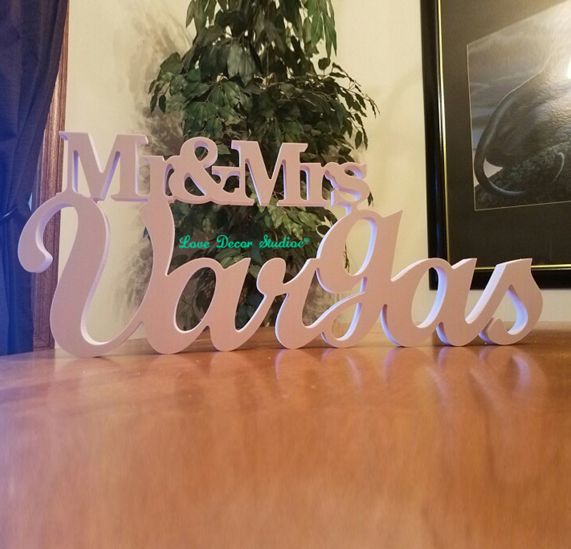 Wedding Sign, Mr and Mrs LAST NAME, Wedding,Mr & Mrs Last Name Table Sign, Wedding Decor