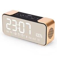 Creative Alarm Clock Radio Mirror Reflective LED Display Wireless Bluetooth Speaker Phone Card Mini Small Subwoofer