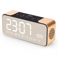 Creative Alarm Clock Radio Mirror Reflective LED Display Wireless Bluetooth Speaker Phone Card Mini Small Subwoofer