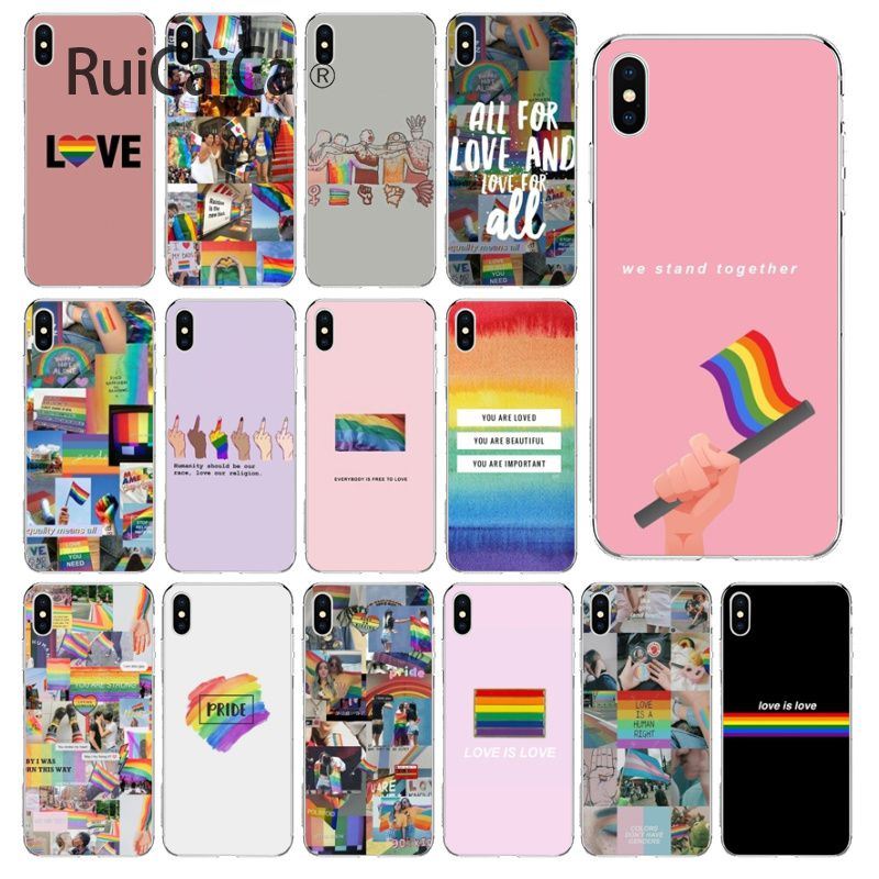 Ruicaica Gay Lesbian LGBT Rainbow Pride Printing Drawing Phone Case cover Shell for iPhone X XS MAX 6 6S 7 7plus 8 8Plus 5 5S XR in Half wrapped Cases from Cellphones Telecommunications