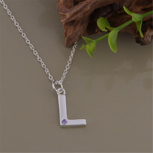 new promotion high quality silver plated jewelry fashion charm women shiny crystal zircon letter l necklace free shipping