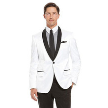men slim fit suits groom tuxedo for wedding white custom made suit one button 2017 dress wool bleed