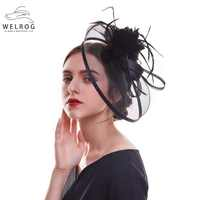 54991320 WELROG Women Fascinator Hat Wedding Bride Fascinator Veil Hat Ribbons  Feathers Hair Clip with Hairband Sinamay
