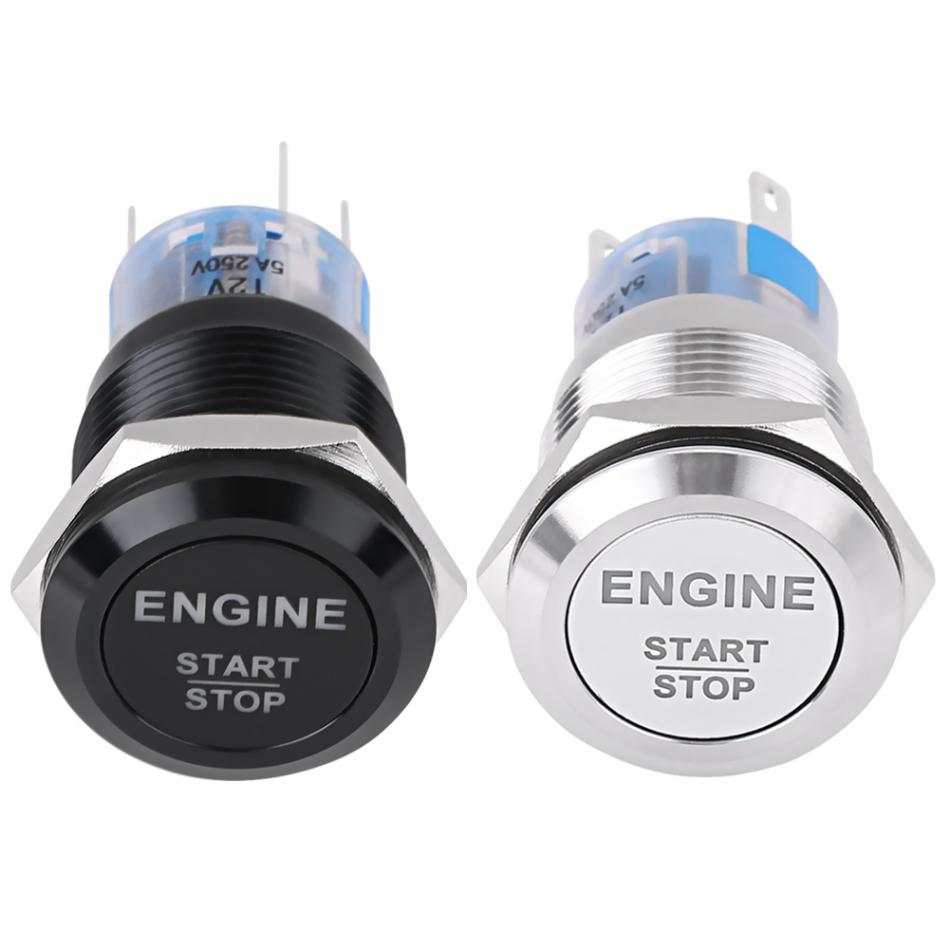 Car Engine Start Switch Ignition Switch 19mm 12v White Led Silver /black Car Auto Engine Start Stop Push Button Switch New