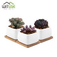 WITUSE White Cube Glazed Vases For Garden Mini Ceramic Bonsai Pots Desktop Outdoor Planter Flower Pot