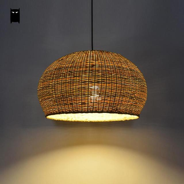 Hand Woven Bamboo Wicker Rattan Round Cage Shade Pendant