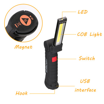 COB LED Flashlight Portable USB Rechargeable 5 Mode Working Light Magnetic Torch Lanterna Hanging Hook Lamp for Outdoor Camping 3