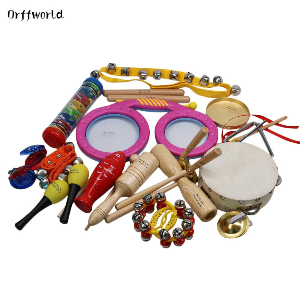 цена на Orff World Children Percussion Instruments Eyes Drum Cylinder 16pcs/Set Early Education Kids Gift Toys Set Birthday Classic