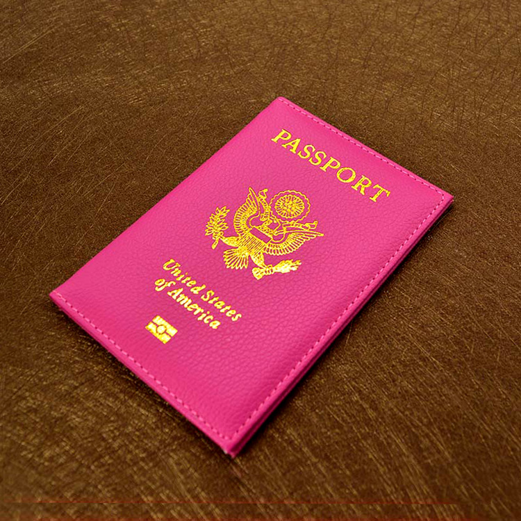 Cute American Travel Passport Cover Pink Cover on the Passport Women Travel Fashion leather Passport holder USA Passport Case