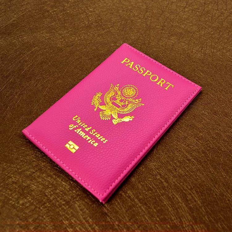 Mulheres Capa de Passaporte de viagem Bonito EUA Rosa EUA Cose para Passaportes Americanos Meninas Capa de Passaporte portador de Passaporte Carteira