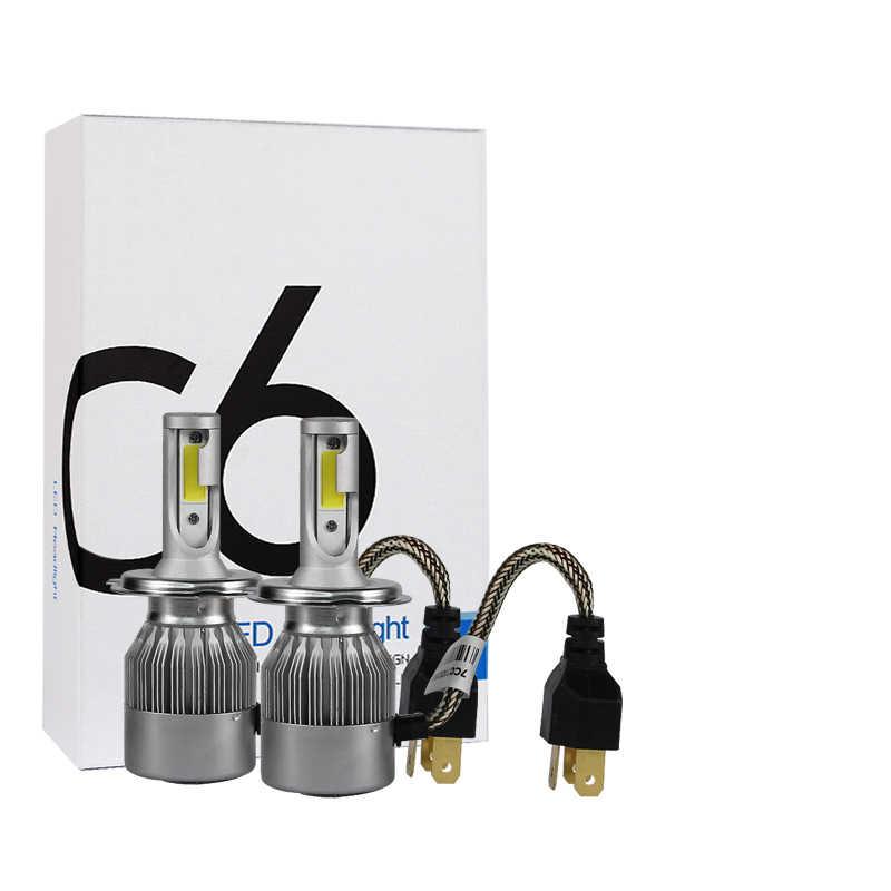 PAMPSEE C6 H7 H4 LED H13 H11 H1 9005 9006 HB2 HB3 HB5 H3 COB 72W 7600LM Car Headlights Bulb Head Lamp Fog Light White 6000K
