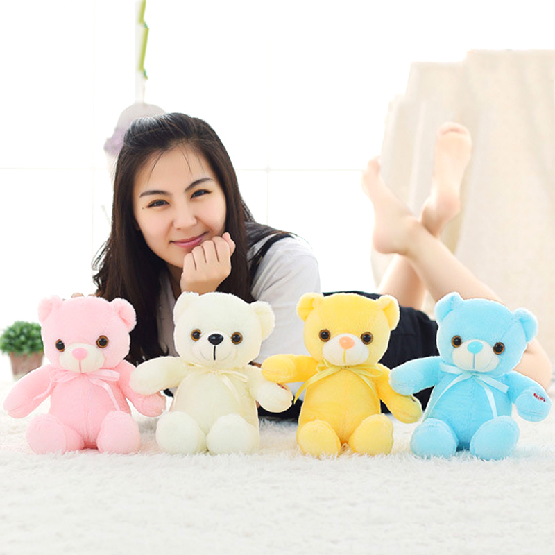 Luzes da Noite toy boneca de pelúcia urso Features : Colorful Led Plush Bear Night Light