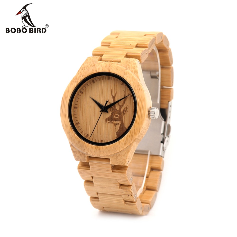 BOBO BIRD E04 Bamboo Wood Womens Watches With Elk Deer Head Engrave With Full Bamboo Strap