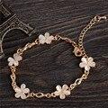 Belas Jóias Naturais de Pedra Champanhe Opala Banhado A Ouro Flor Encantos Pulseiras Para As Mulheres bijoux femme
