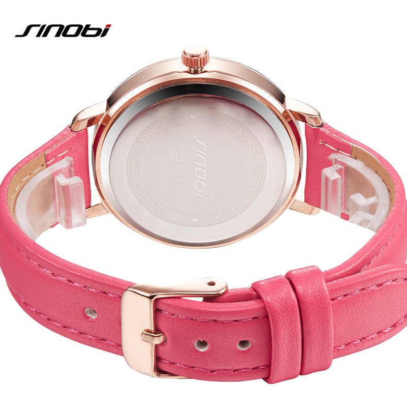 Yeni 2017 Sinobi bayanlar saatler lüks marka kadın saatler sevimli pembe deri bant kuvars bilek saatleri için kadınlar Hodinky