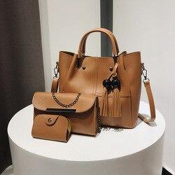 Nova mãe das mulheres sacos balde saco de alta qualidade marca designer de três peças moda ombro único saco do mensageiro borla bolsa