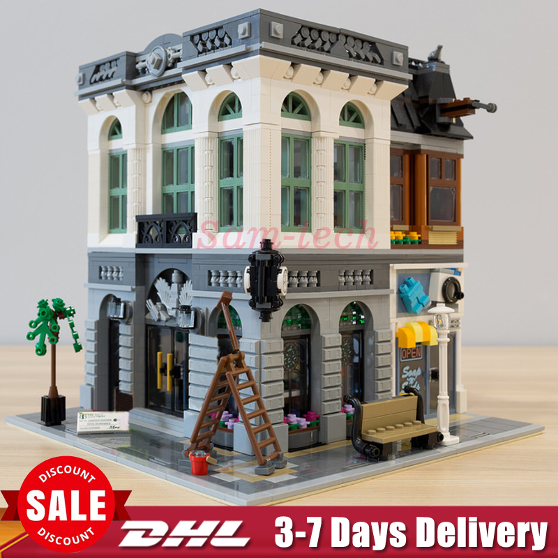 DHL LEPIN 15001 City Street Brick Bank Model Building Assembling Blocks Bricks Toy Compatible With 10251 Educational Funny Toy lepin 15009 city street pet shop model building kid blocks bricks assembling toys compatible 10218 educational toy funny gift