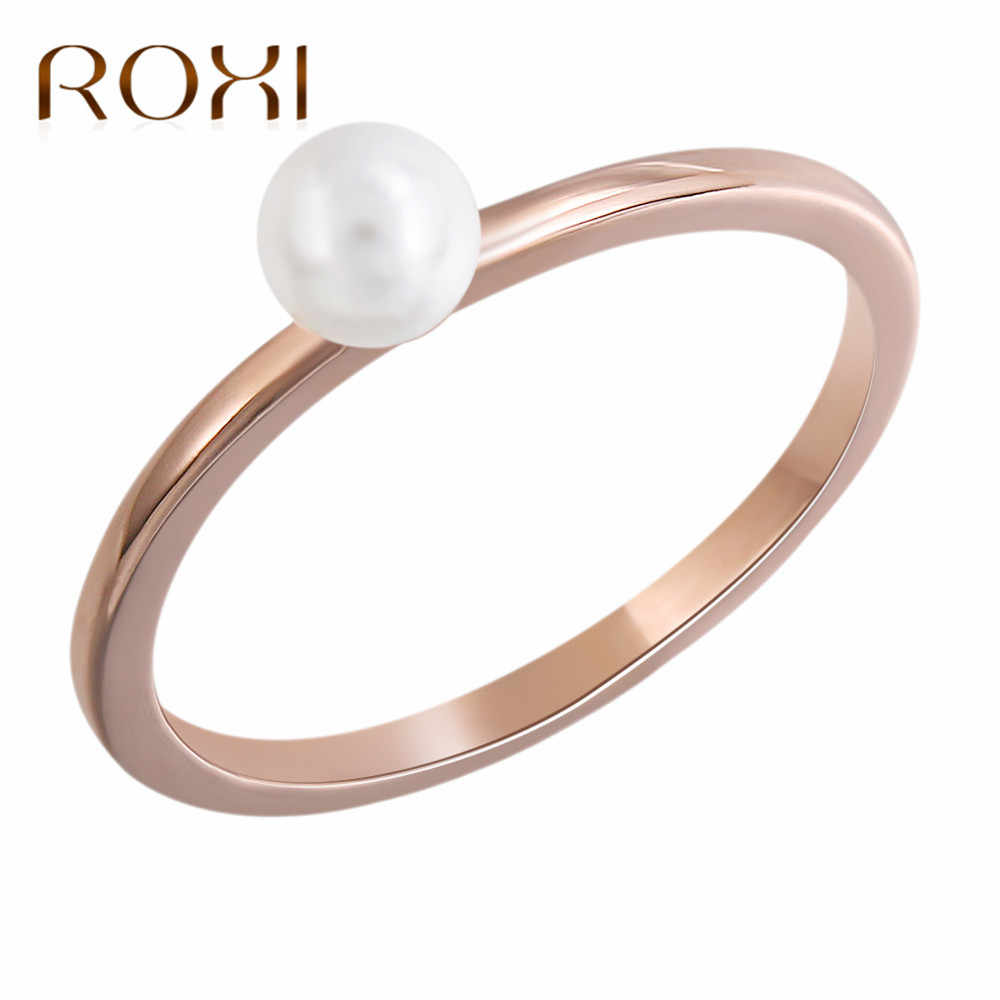 ROXI New Dainty Female Finger Ring Charms Rose Gold Color Wedding Rings for Women Pearl Ring Jewelry Bague Femme Anillos Mujer
