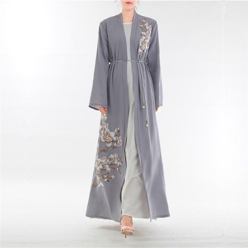 12dbd6e40faa9 Wanita Plus Ukuran Muslim Cardigan Disambung Merenda Renda Hem ...