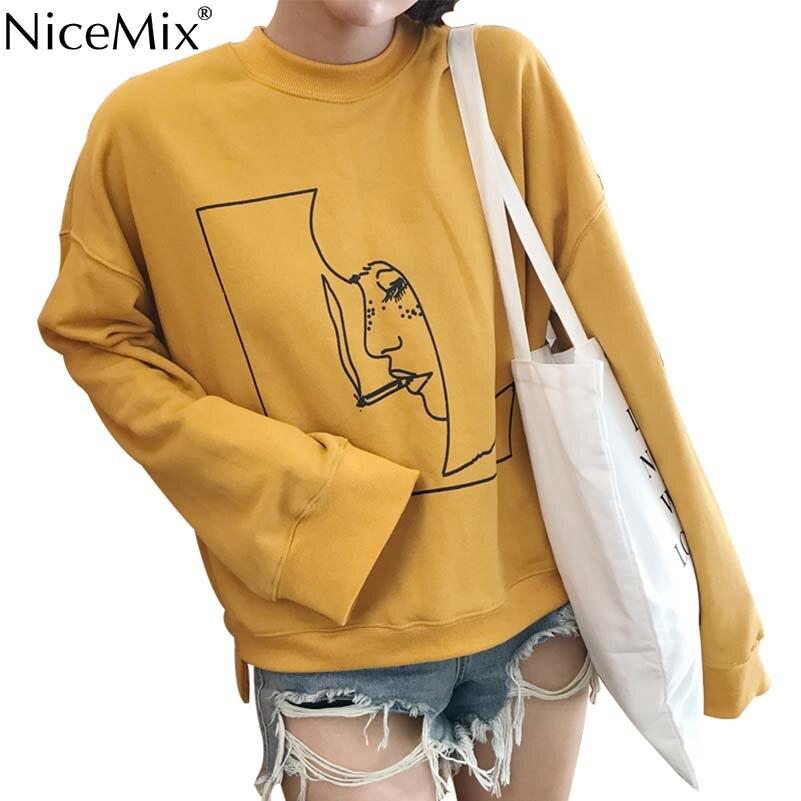 NiceMix Harajuku Boyfriend Style Sweatshirt Women Print Pattern Plus Size Loose Female Hoodies Sweatshirts Sweat Femme