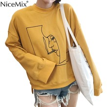 NiceMix Harajuku Boyfriend Style Sweatshirt Women Print Pattern Plus Size Loose Female Hoodies Sweatshirts Sweat Femme