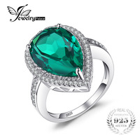 4 98ct Nano Russian Emerald Engagement Wedding Ring Set Solid 925 Sterling Solid Silver Water Drop