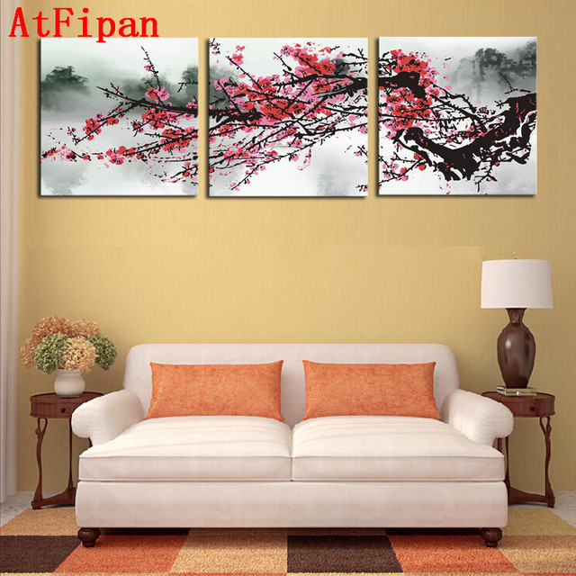AtFipan Unframed 3 Sets Red Plum Blossom Flowers Wall Pictures For ...