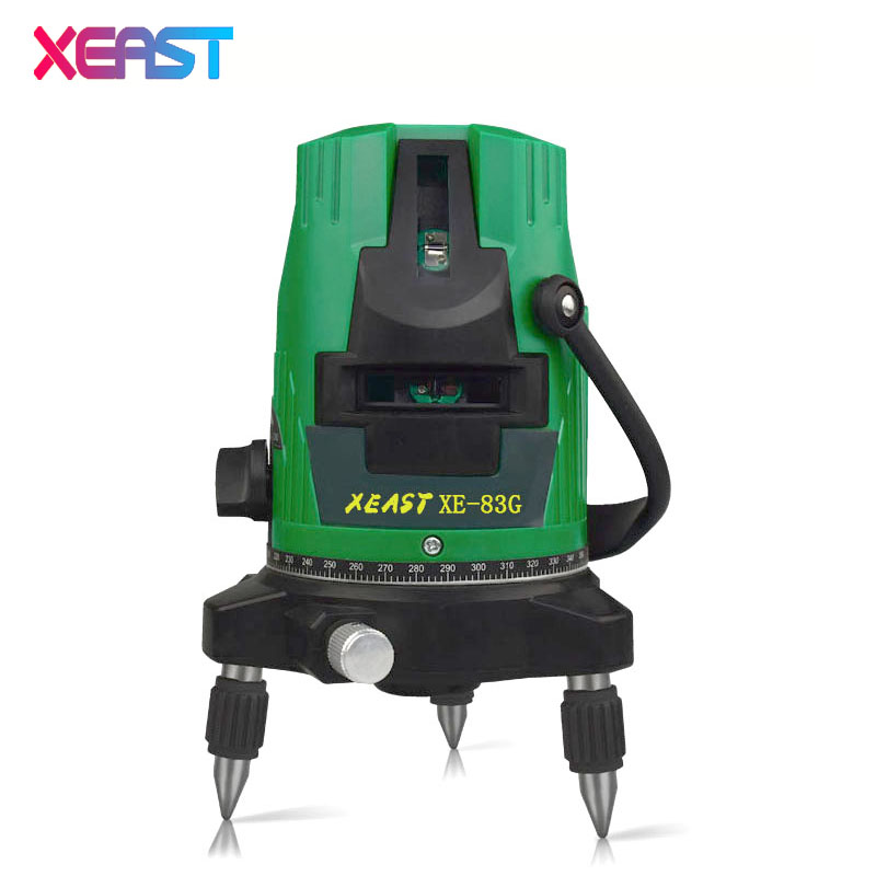 XEAST XE-83G 5 Lines 6 Points green laser level Self-Leveling 360 degree laser level 360 degree rotary cross laser line laser level 360 degree rotary cross laser cast thread can be used outdoor 2 lines 3 points green line laser level infrared laser