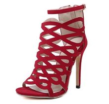 Size 4~9 Sexy Red Cut-Outs Women Shoes Summer Black Zipper Model High Heels Pumps zapatos mujer (Chenk Foot Length)