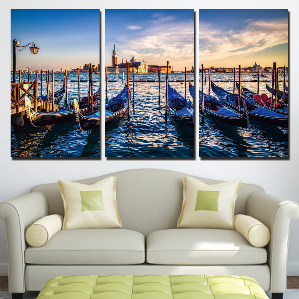 Sale Direct Selling 3 Panels Canvas Art Venice Watery City Home Decoration Wall Painting Prints Pictures For Living Room