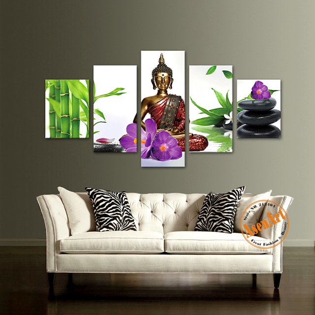 5 Piece Wall Art Picture Buddha Bamboo Flower Canvas Print Painting Living Room Decor Framed